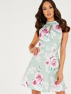 quiz-quiz-floral-keyhole-skater-dress-sage