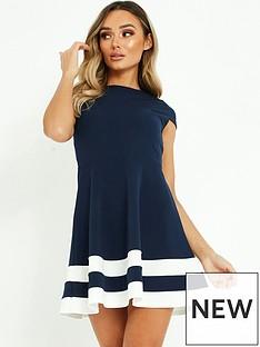 quiz-quiz-marcella-crepe-round-neck-cap-sleeve-contrast-skater-dress-navycream