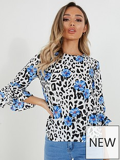 quiz-floral-three-quarter-frill-sleeve-boxy-top-blue