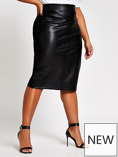 ri-plus-ri-plus-faux-leather-ponte-mix-pencil-skirt-black
