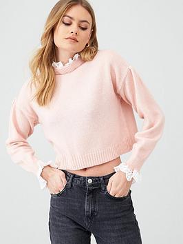 river-island-river-island-lace-trim-crop-knitted-jumper-light-pink