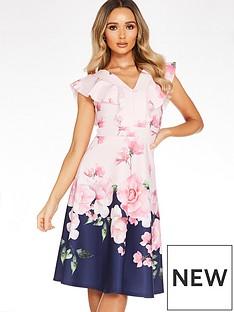 quiz-floral-print-v-neck-frill-skater-dress-navyfloral