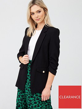 river-island-ruched-sleeve-blazer-black