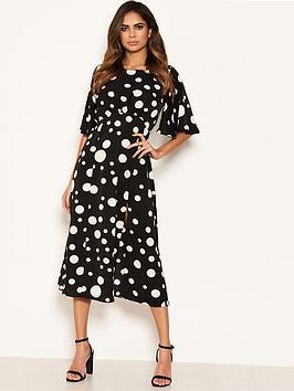 ax-paris-polka-dot-midi-dress-black