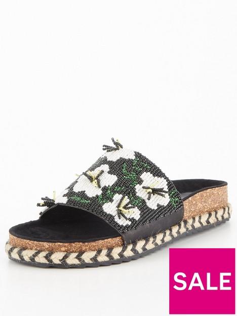 v-by-very-flower-beaded-footbed-sandal-black
