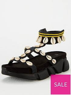 v-by-very-hibiscus-shell-trim-sporty-sandals-black