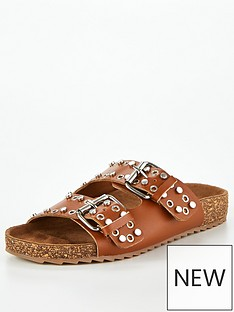 v-by-very-hyra-leather-studded-footbed-sandal-tan