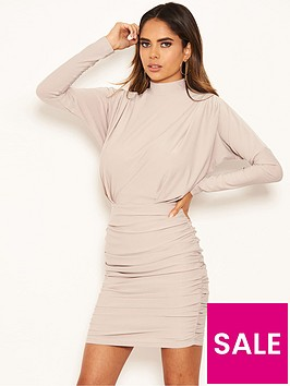 ax-paris-high-neck-ruched-bodycon-dress-silver