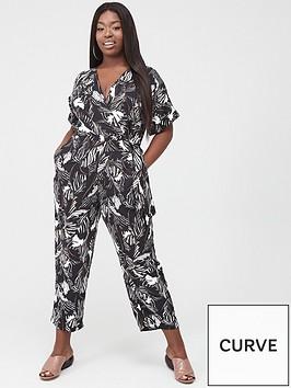 ax-paris-curve-printed-wrap-jumpsuit-blackwhite