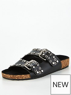 v-by-very-hyra-leather-studded-footbed-sandal-black