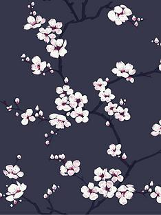 fresco-apple-blossom-navy-wallpaper