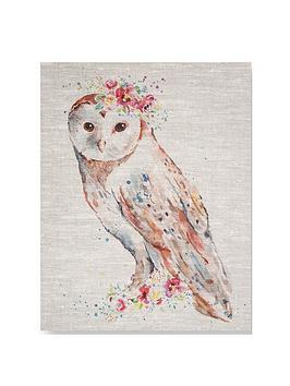 graham-brown-watercolour-floral-owl-canvas