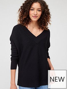 v-by-very-v-neck-slouchy-knitted-top-black