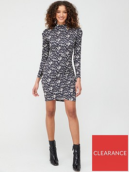 v-by-very-long-sleeve-high-neck-gather-detail-dress-black-ditsy-floral