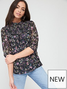 oasis-oasis-smudgy-floral-balloon-sleeve-mesh-top