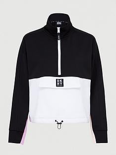 dkny-sport-colour-block-half-zip-sweatshirt-blackpink