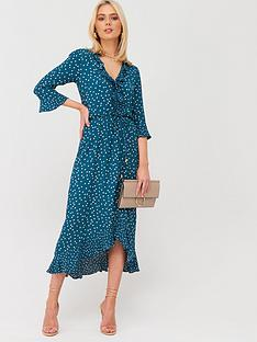 oasis-patched-spot-ruffle-v-neck-midi-dress-teal-green