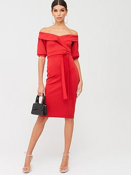 boohoo-boohoo-on-the-shoulder-tie-waist-midi-dress-red