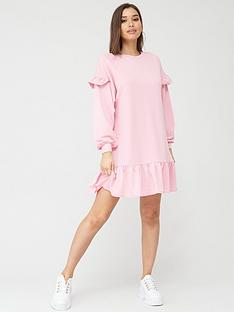 boohoo-boohoo-ruffle-sleeve-drop-hem-oversized-sweat-dress-pink