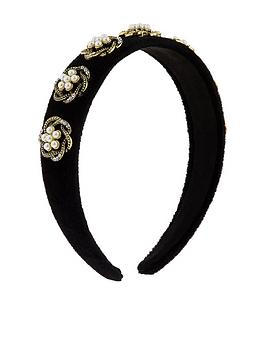 accessorize-swirly-pearly-velvet-alice-band-black