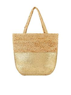 accessorize-sarah-metallic-beach-tote-gold