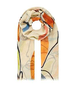accessorize-linear-portrait-print-scarf-multi