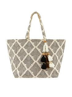 accessorize-geo-woven-beach-tote-black