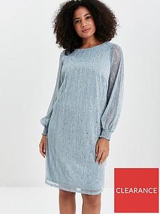 evans-sparkle-shirred-cuff-dress-blue