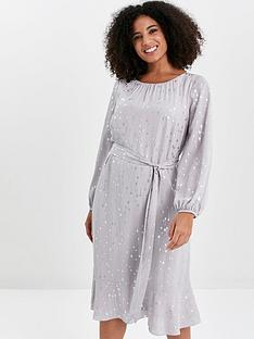 evans-silver-foil-frill-sleeve-overlay-dress-grey
