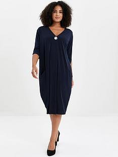 evans-button-pocket-dress-navy