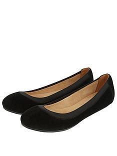 accessorize-elasticated-suede-ballerina-shoes-black