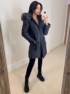 michelle-keegan-premium-eyelet-detail-parka-coat-grey
