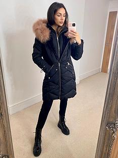 michelle-keegan-contrast-fur-longline-padded-coat-black