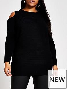 ri-plus-ri-plus-cut-out-cold-shoulder-knitted-jumper-black