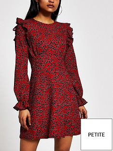 ri-petite-floral-frill-mini-dress-red