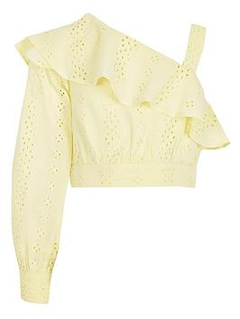 river-island-girls-broderie-one-shoulder-crop-top-yellow
