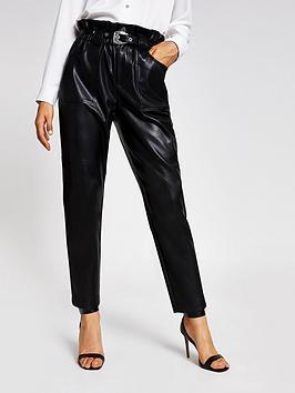 river-island-pu-western-belt-trouser-black