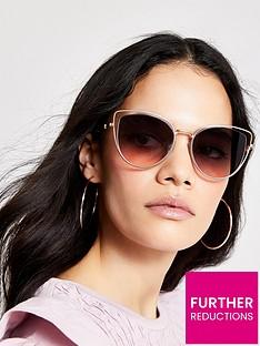 river-island-river-island-brushed-goldmetal-frame-cateye-sunglasses-gold