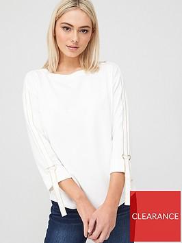 river-island-tape-sleeve-sweater-cream