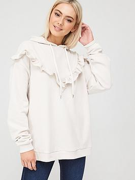 river-island-exaggeratednbspfrill-trim-hoodie-cream