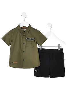 river-island-mini-mini-boys-utility-shirt-and-shorts-khaki