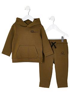 river-island-mini-mini-boys-riveria-twill-hoodie-set-brown