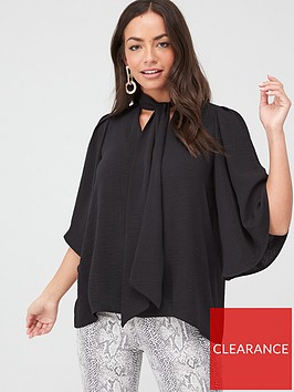 river-island-river-island-tie-neck-short-sleeve-blouse-black