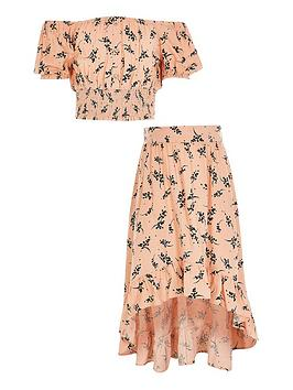 river-island-girls-floral-cropped-bardot-top-and-skirt-pink
