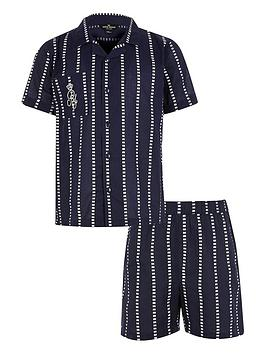 river-island-boys-stripe-ri-pyjama-set-navy