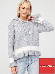 river-island-frill-crop-knitted-hoodie-grey