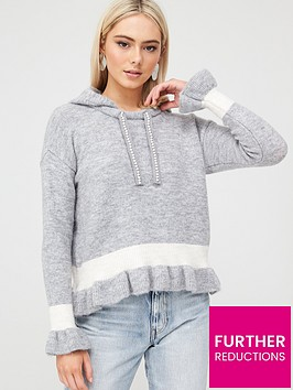 river-island-river-island-frill-crop-knitted-hoody-grey