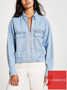 river-island-river-island-pocket-detail-zip-front-denim-jacket