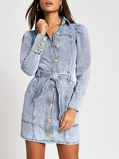 river-island-puff-sleeve-denim-dress-light-blue