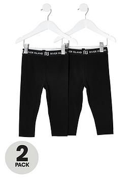 river-island-mini-girls-2-pack-waistband-leggingsnbsp-nbspblack